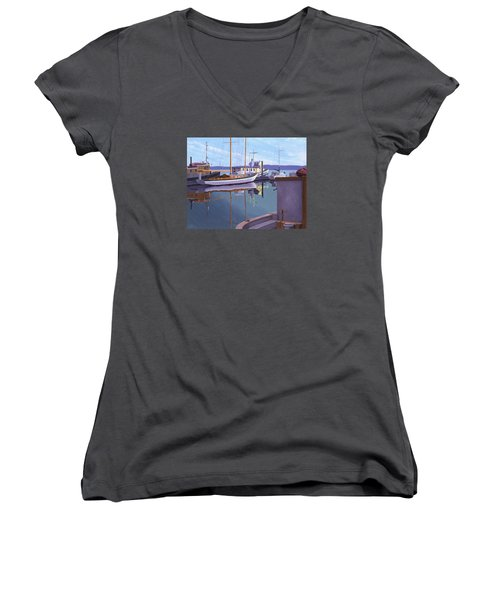 Women's V-Neck T-Shirt (Junior Cut) featuring the painting Evening On Malaspina Strait by Gary Giacomelli