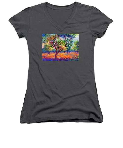 Evening Poppies Women's V-Neck T-Shirt (Junior Cut) by Jane Small