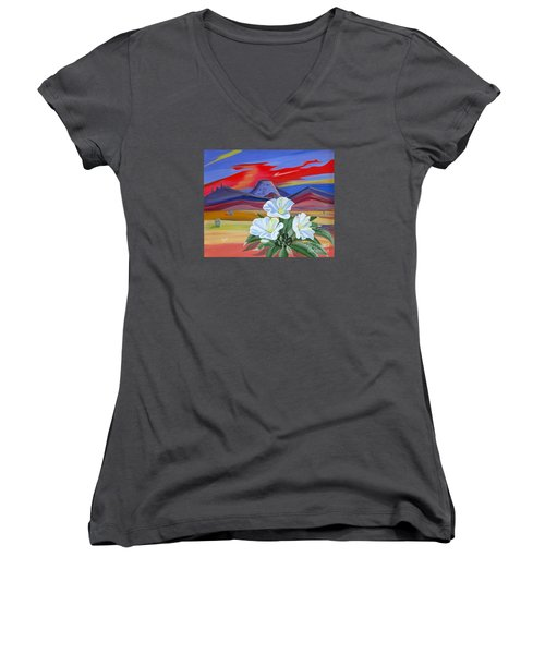 Women's V-Neck T-Shirt (Junior Cut) featuring the painting Evening Primrose by Phyllis Kaltenbach