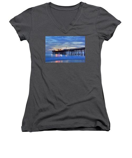 Evening Reflections Newport Beach Pier Women's V-Neck