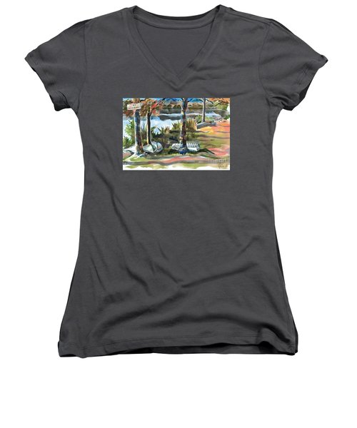 Evening Shadows At Shepherd Mountain Lake  No W101 Women's V-Neck