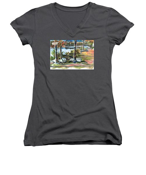 Evening Shadows At Shepherd Mountain Lake  No W101 Women's V-Neck (Athletic Fit)