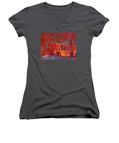 Women's V-Neck T-Shirt (Junior Cut) featuring the painting Evening Shadows On A Round Taos House by Art James West