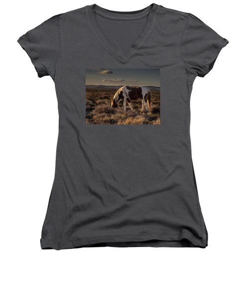 Evening Solitude In Sand Wash Basin Women's V-Neck