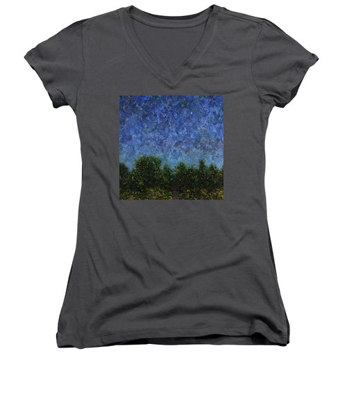 Women's V-Neck T-Shirt (Junior Cut) featuring the painting Evening Star - Square by James W Johnson