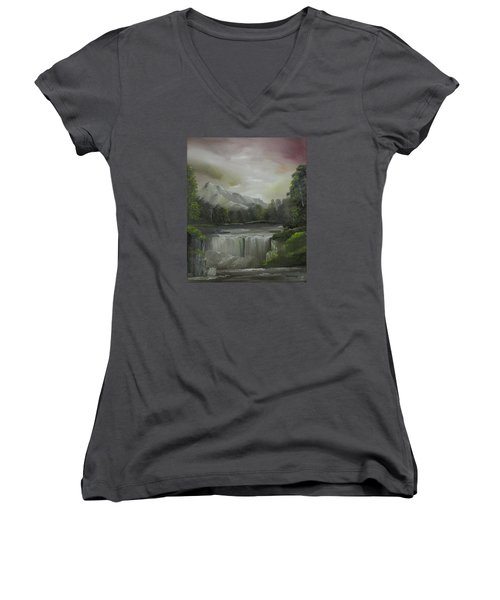 Evening Waterfalls Women's V-Neck T-Shirt