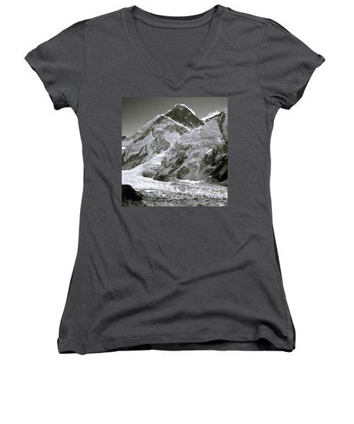 Everest Sunrise Women's V-Neck T-Shirt (Junior Cut) by Shaun Higson