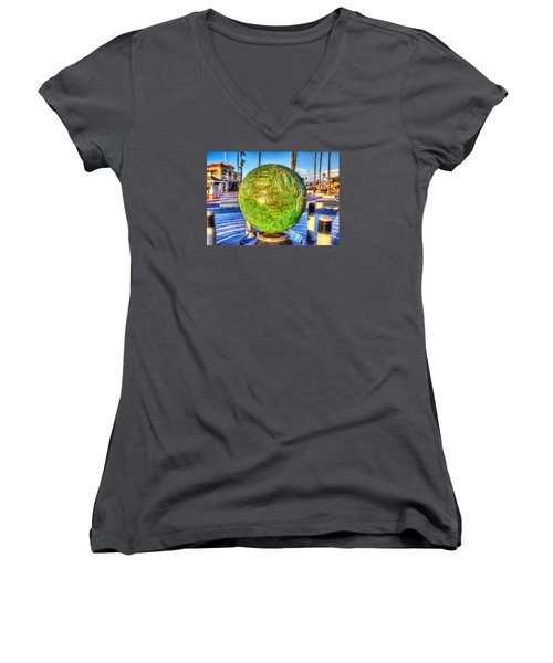 Everyone Is Welcome At The Beach Women's V-Neck T-Shirt (Junior Cut) by Jim Carrell