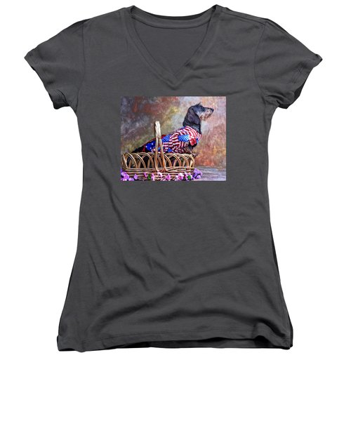 Women's V-Neck T-Shirt (Junior Cut) featuring the photograph Evita by Jim Thompson