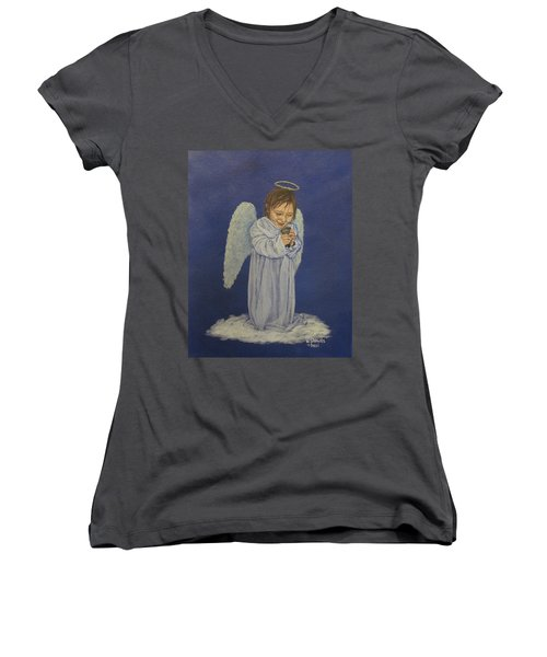 Women's V-Neck T-Shirt (Junior Cut) featuring the painting Excitement by Wendy Shoults