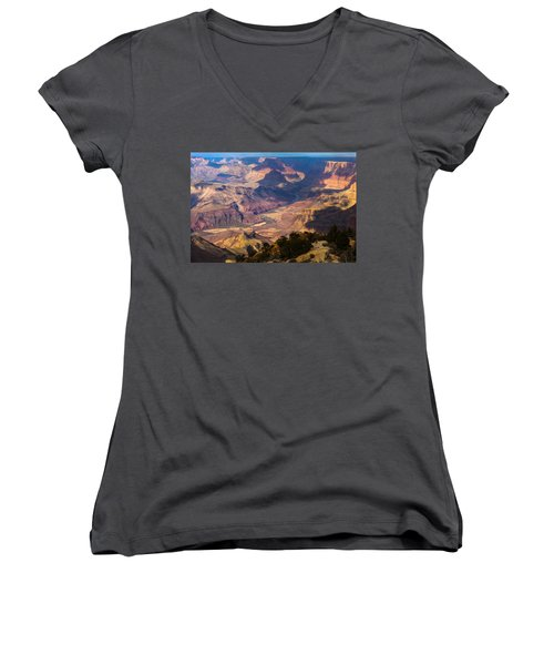 Expanse At Desert View Women's V-Neck T-Shirt (Junior Cut) by Ed Gleichman