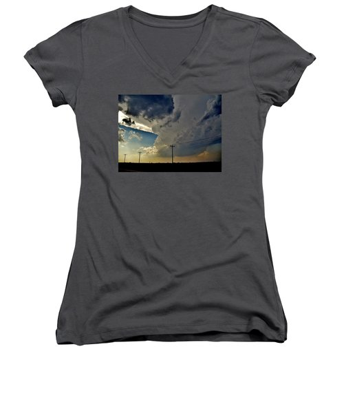Women's V-Neck T-Shirt (Junior Cut) featuring the photograph Explosive Texas Supercell by Ed Sweeney
