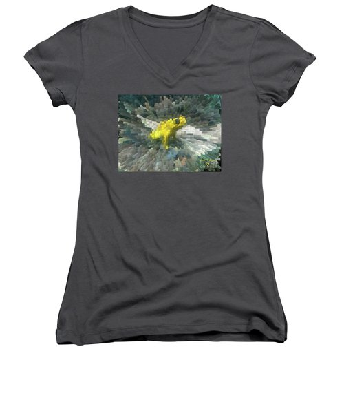 Women's V-Neck T-Shirt (Junior Cut) featuring the photograph Extrude Yellow Frog by Donna Brown