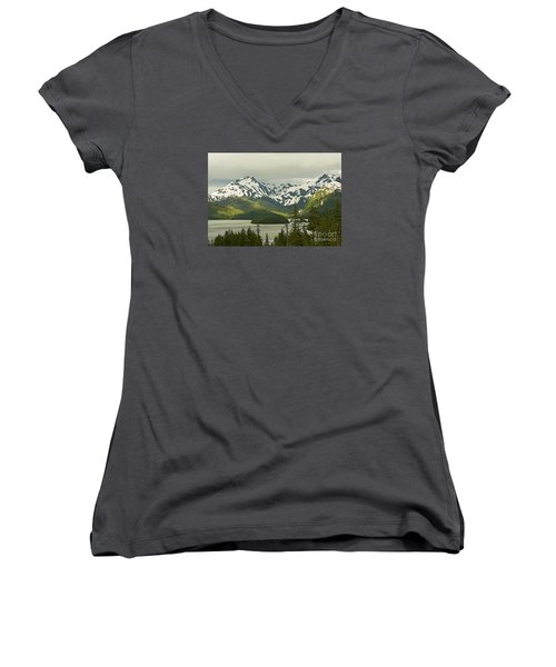 Women's V-Neck T-Shirt (Junior Cut) featuring the photograph Eyak Lake Landscape by Nick  Boren
