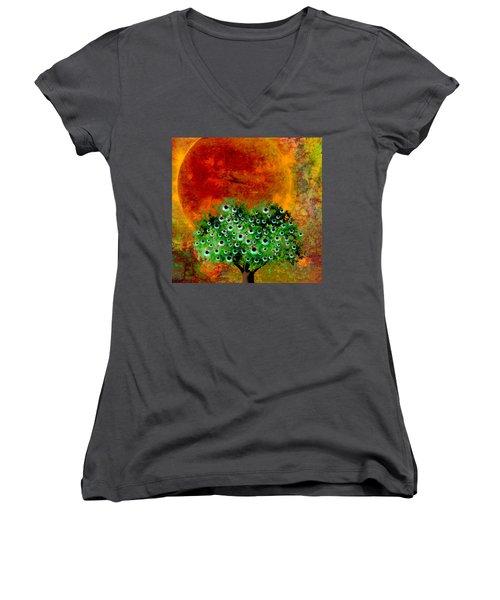 Eye Like Apples Women's V-Neck T-Shirt (Junior Cut) by Ally  White