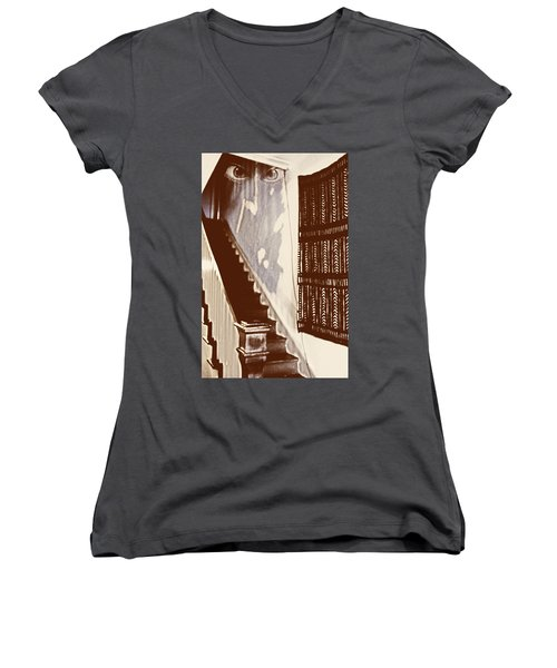 Eyes At The Top Of The Stairs Women's V-Neck T-Shirt