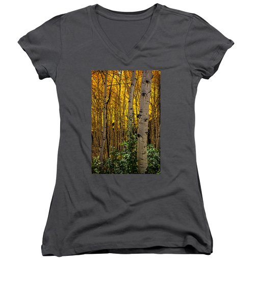 Women's V-Neck T-Shirt (Junior Cut) featuring the photograph Eyes Of The Forest by Ken Smith