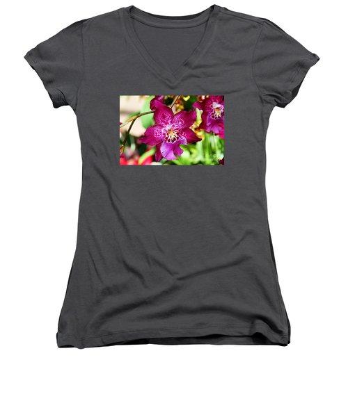 Fabulous Fushia Orchids By Diana Sainz Women's V-Neck