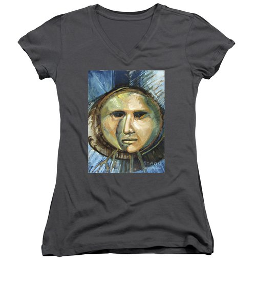 Faced With Blue Women's V-Neck