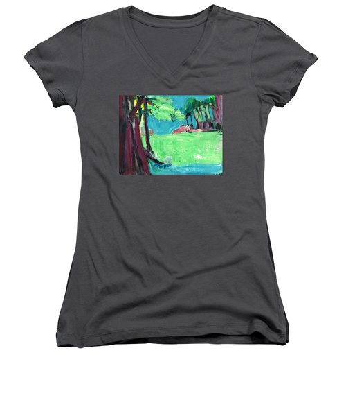 Fairway In Early Spring Women's V-Neck (Athletic Fit)