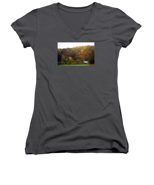 Fall At Valley Forge Women's V-Neck T-Shirt (Junior Cut) by Skip Willits