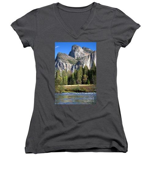 Yosemite National Park-sentinel Rock Women's V-Neck T-Shirt (Junior Cut) by David Millenheft
