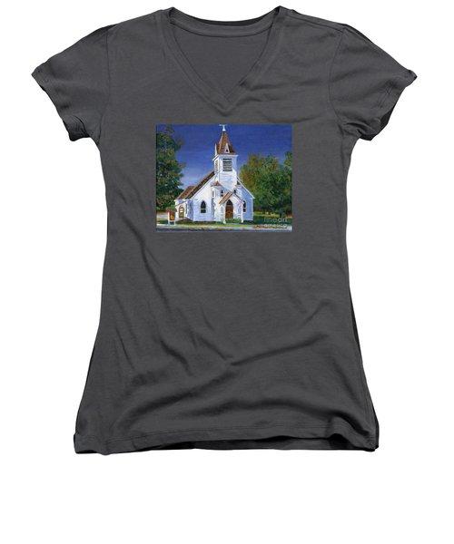 Fall Church Women's V-Neck T-Shirt (Junior Cut) by Lynne Reichhart