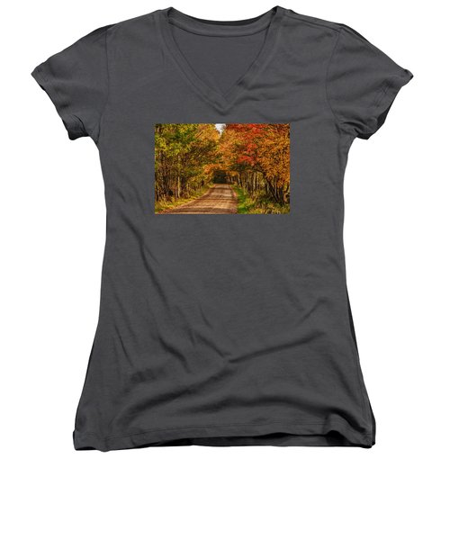 Women's V-Neck T-Shirt (Junior Cut) featuring the photograph Fall Color Along A Dirt Backroad by Jeff Folger