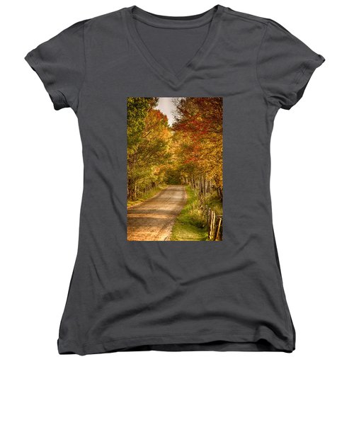 Women's V-Neck T-Shirt (Junior Cut) featuring the photograph Fall Color Along A Peacham Vermont Backroad by Jeff Folger