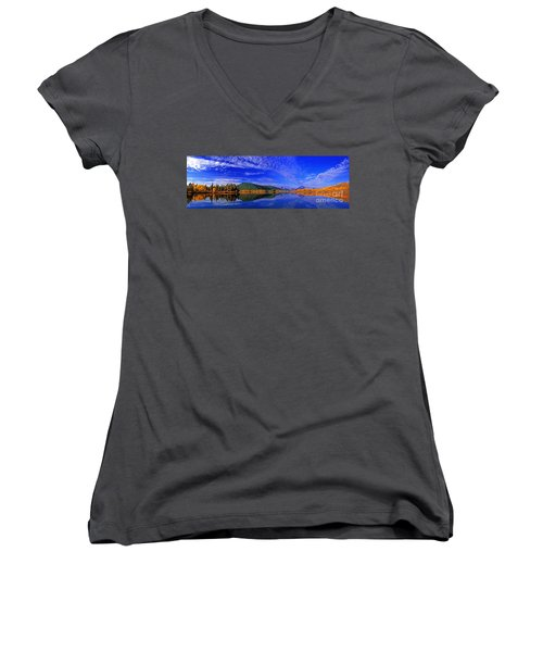 Women's V-Neck T-Shirt (Junior Cut) featuring the photograph Fall Color Oxbow Bend Grand Tetons National Park Wyoming by Dave Welling