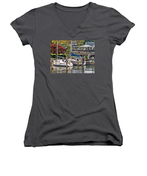 Women's V-Neck T-Shirt (Junior Cut) featuring the photograph Fall Memory by Tammy Espino