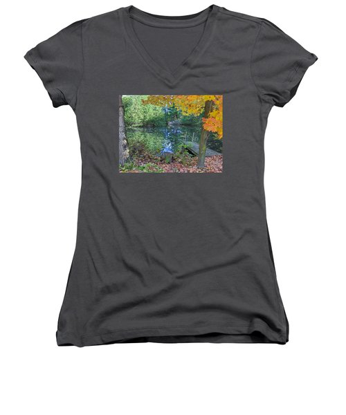 Women's V-Neck T-Shirt (Junior Cut) featuring the photograph Fall Scene By Pond by Brenda Brown