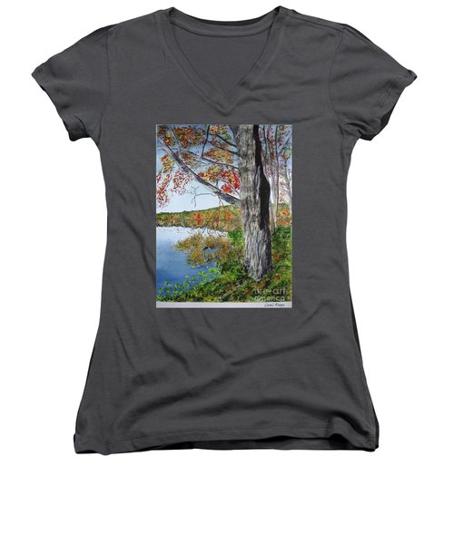 Fall Tree Women's V-Neck T-Shirt (Junior Cut)