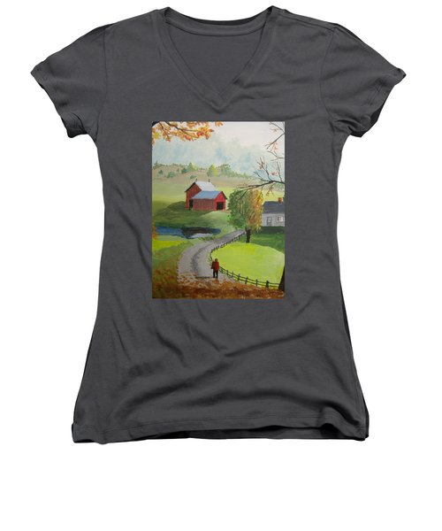 Women's V-Neck T-Shirt (Junior Cut) featuring the painting Fall Walk by Norm Starks