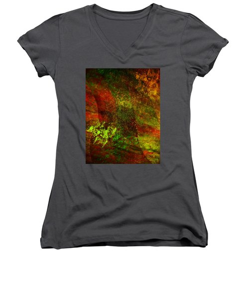 Women's V-Neck T-Shirt (Junior Cut) featuring the mixed media Fallen Seasons by Ally  White