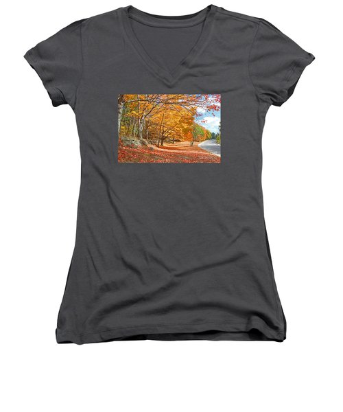 Falling Leaves On The Road To Bentley Women's V-Neck T-Shirt (Junior Cut) by Rita Brown