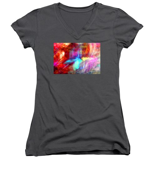 Falling Petal Abstract Red Magenta And Blue B Women's V-Neck T-Shirt (Junior Cut) by Heather Kirk