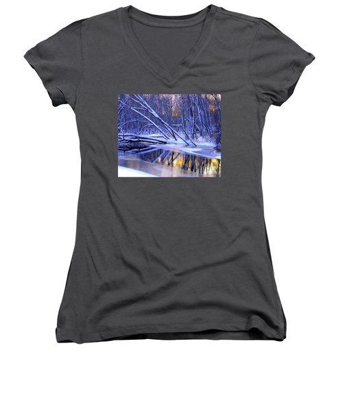 Women's V-Neck T-Shirt (Junior Cut) featuring the photograph Falling by Terri Gostola