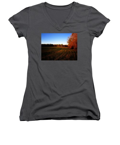 Fallow Field Women's V-Neck T-Shirt (Junior Cut) by Greg Simmons