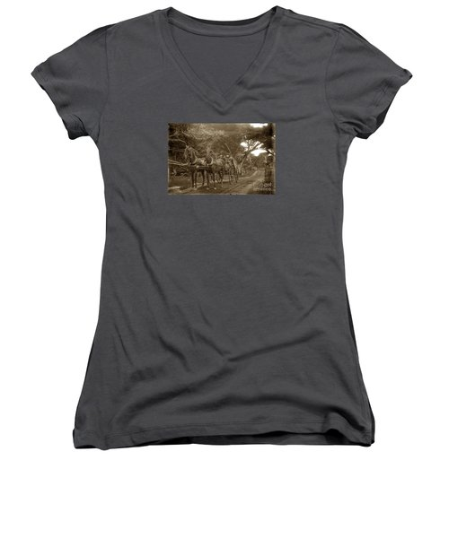 Family Out Carriage Ride On The 17 Mile Drive In Pebble Beach Circa 1895 Women's V-Neck T-Shirt (Junior Cut) by California Views Mr Pat Hathaway Archives