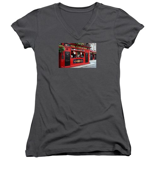 Famous Temple Bar In Dublin Women's V-Neck T-Shirt