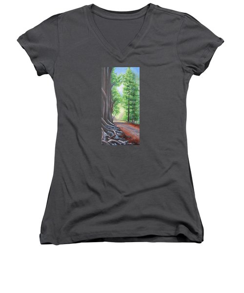 Women's V-Neck T-Shirt (Junior Cut) featuring the painting Faraway by Jane  See