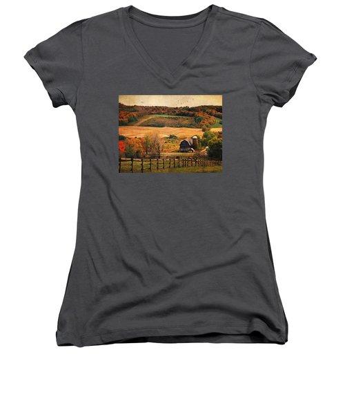 Farm Country Autumn - Sheldon Ny Women's V-Neck T-Shirt (Junior Cut) by Lianne Schneider