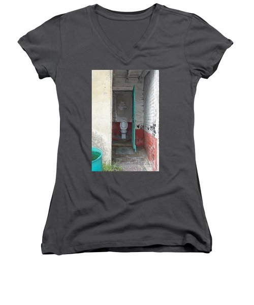 Women's V-Neck T-Shirt (Junior Cut) featuring the photograph Farm Facilities by HEVi FineArt