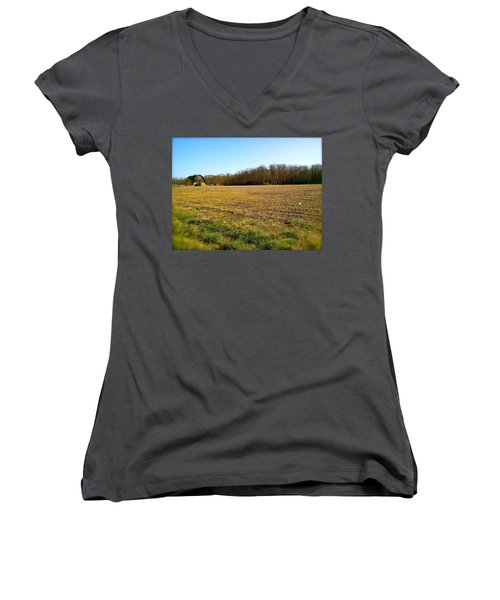 Farm Field With Old Barn Women's V-Neck T-Shirt