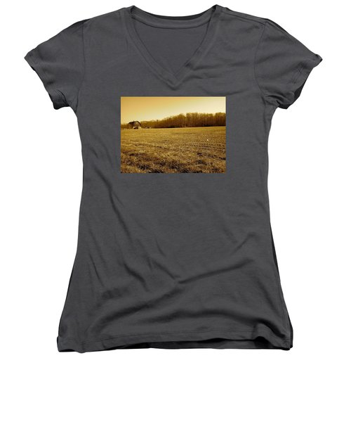Farm Field With Old Barn In Sepia Women's V-Neck T-Shirt (Junior Cut) by Amazing Photographs AKA Christian Wilson