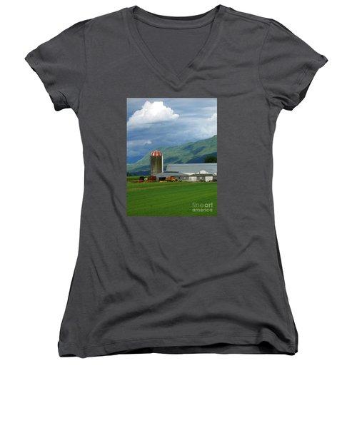 Farm In The Valley Women's V-Neck T-Shirt (Junior Cut) by Ann Horn