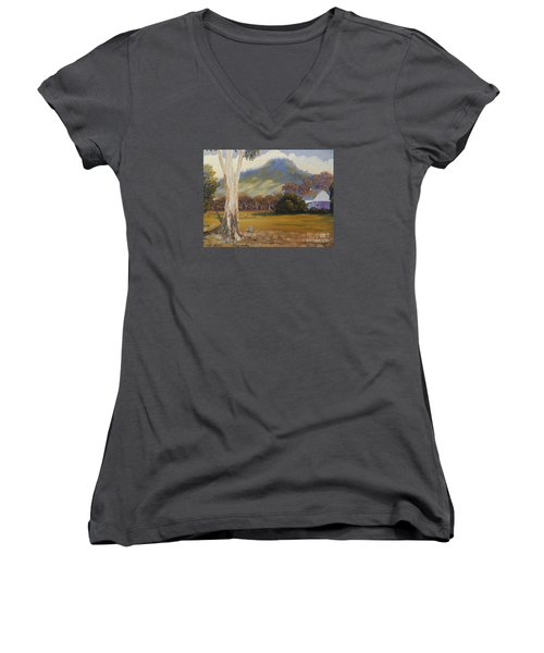 Farm With Large Gum Tree Women's V-Neck T-Shirt