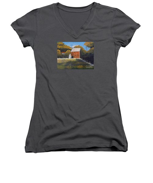 Women's V-Neck T-Shirt (Junior Cut) featuring the painting Farm With Red Barn by Pamela  Meredith