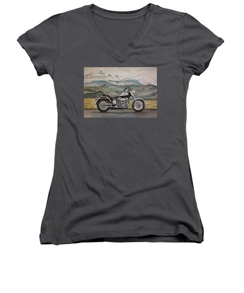 Women's V-Neck T-Shirt (Junior Cut) featuring the painting Fatboy by Rachel Hames